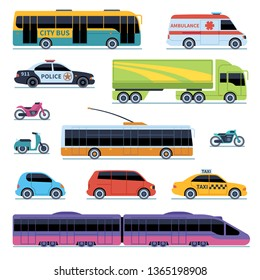 Car collection. Vehicles city transportation. Cars, scooters motorcycle. Side view urban auto isolated illustrations set