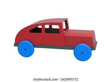 Car, colorful wooden toy, 3d rendering, on white background