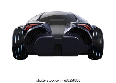 Car concept modern vehicle luxury style, back view. 3D rendering