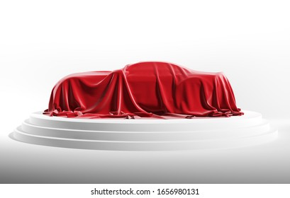 Car covered with red silk cloth. Isolated on a white background with clipping path. 3d illustration