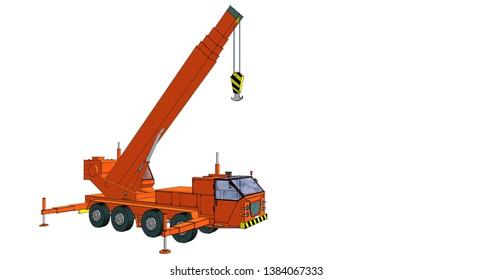 car crane graphics 3d illustration