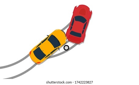 Car crash accident top view insurance illustration. Down broken claim automobile isolated icon. Flat driving street hit collision traffic. Wreck disaster smash crush. Safety concept