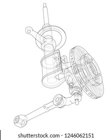 Car dampers with brake disc outline. Wire-frame style. 3d illustration