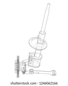 Car dampers with brake disc outline. Wire-frame style. 3d illustration