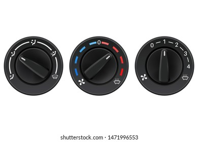 Car dashboard knob switch set. Auto air conditioner. 3d illustration isolated on white background. Raster version