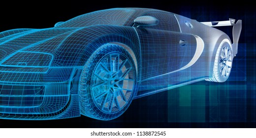 Car Design Abstract Background Concept Art 3D Render