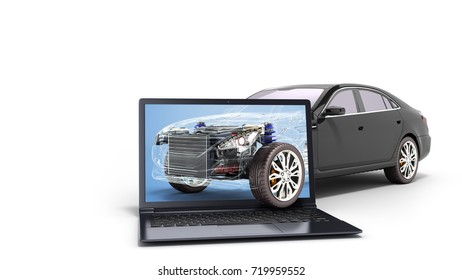 car diagnostic concept black car studio view 3d render image
