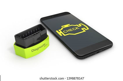 Car diagnostic concept Close up of OBD2 wireless scanner with smartphone on white background 3d illustration