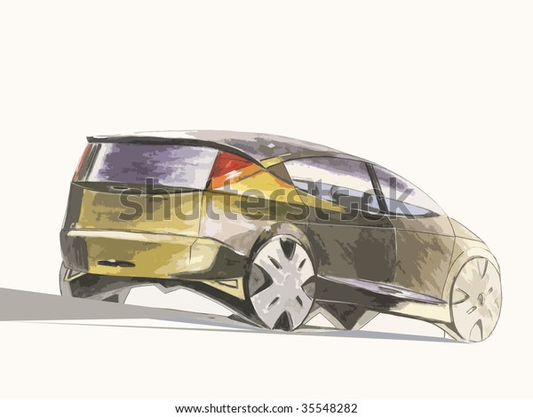 Car Drawing Water Colour Paints Stock Illustration 35548282