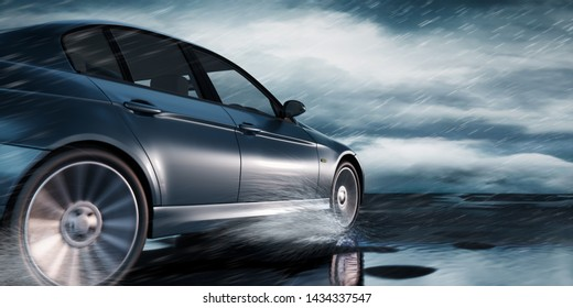 Car drives on a road in heavy weather - 3D illustration