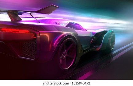Car drives through the night (3D Rendering)