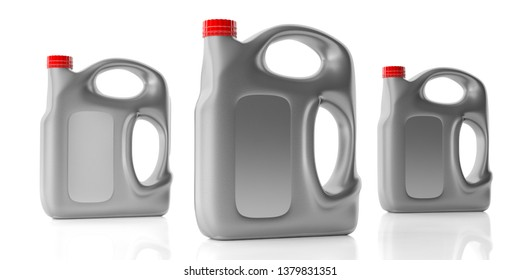 Car engine oil 5 liters, plastic canisters with handle mockup blank no label with red color cap isolated against white background. 3d illustration