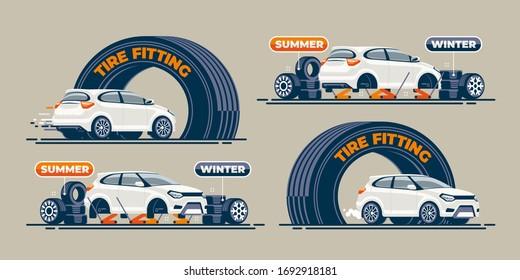 Das Auto kommt als Autoreifen an der Wartungsstation in den Bogen, und die Reifen werden darauf gewechselt. Das Fahrzeug verlässt den Autodienst.