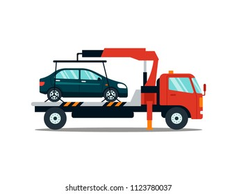 Car evacuating broken or damaged auto isolated on white background. Evacuator carrying car to the parking lot. Repair service  illustration