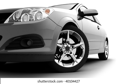 Car front bumper, light and wheel on white. Detail