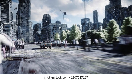 the car goes away from the chase crowd zombies. Destroyed city. Fast driving. Zombie apocalypse concept. 3d rendering.