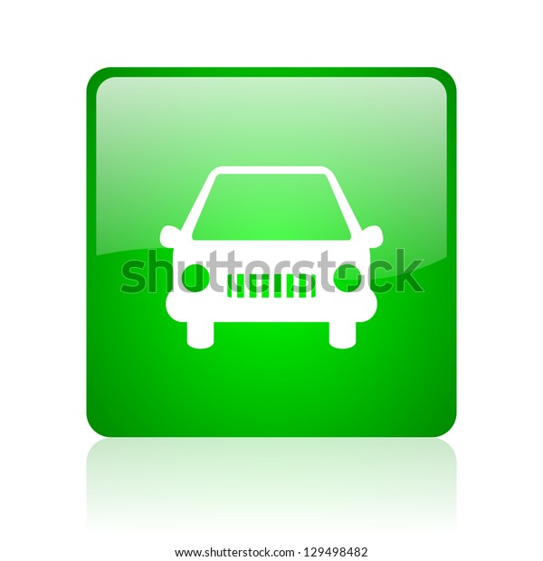 car green square web icon on white background