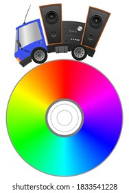 Car and hifi speaker  and spectrum cd, concept music store