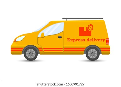 Car icon for express cargo delivery. Cartoon performance. Isolated on a white background - Shutterstock ID 1650991729