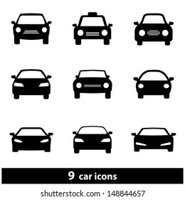 Car Icon Set. Raster version, vector also available.