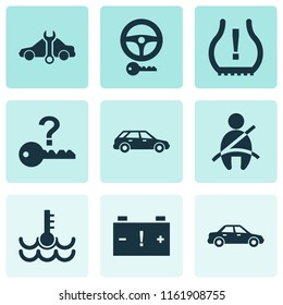 Car icons set with not key, station wagon, caution and other automobile elements. Isolated  illustration car icons.