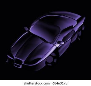 Car illustration on a black background