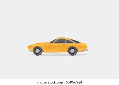 Shining Yellow American Vintage Muscle Car Side View 3d