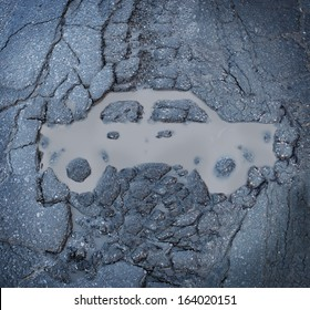Car insurance concept with a pot hole and a dirty puddle on a broken cracked asphalt pavement shaped as an auto representing road hazards or highway damage as a cause of automobile traffic accidents.