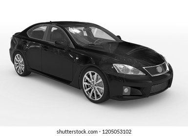 car isolated on white - black paint, transparent glass - front-right side view - 3d rendering