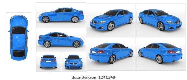 car isolated on white - blue paint, tinted glass - collection of all characteristic views - top, front, back, side, separated with borders - 3d rendering