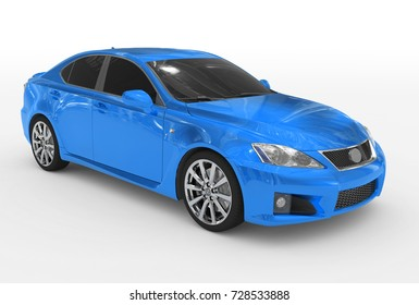 car isolated on white - blue paint, tinted glass - front-right side view - 3d rendering