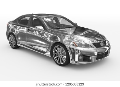 car isolated on white - chrome, transparent glass - front-right side view - 3d rendering