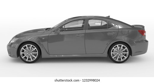 car isolated on white - gray paint, transparent glass - left side view - 3d rendering