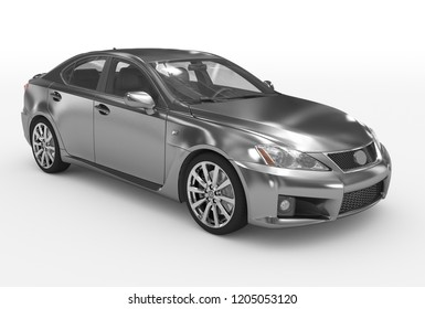 car isolated on white - metal, transparent glass - front-right side view - 3d rendering