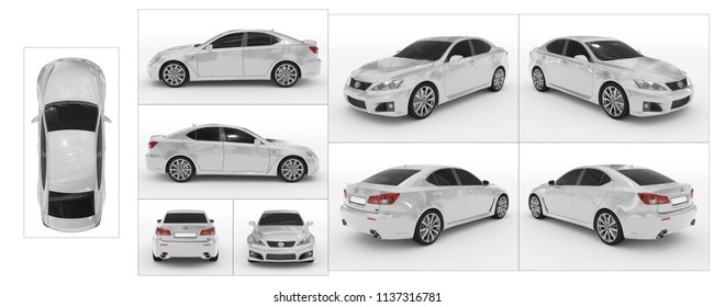 car isolated on white - white paint, tinted glass - collection of all characteristic views - top, front, back, side, separated with borders - 3d rendering