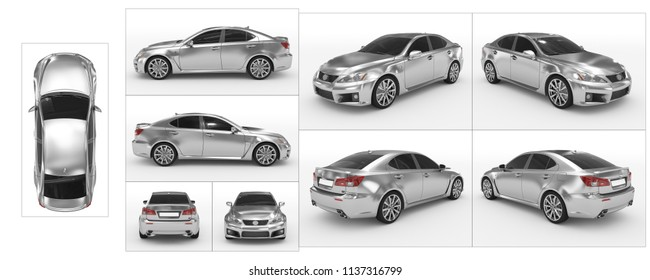 car isolated on white - silver, tinted glass - collection of all characteristic views - top, front, back, side, separated with borders - 3d rendering