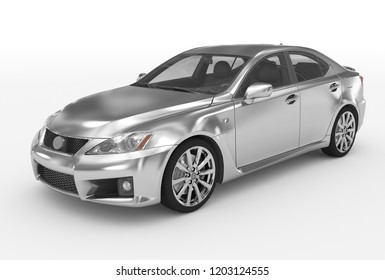 car isolated on white - silver, transparent glass - front-left side view - 3d rendering