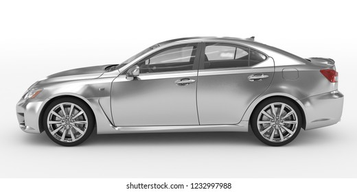 car isolated on white - silver, transparent glass - left side view - 3d rendering