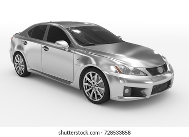 car isolated on white - silver, tinted glass - front-right side view - 3d rendering