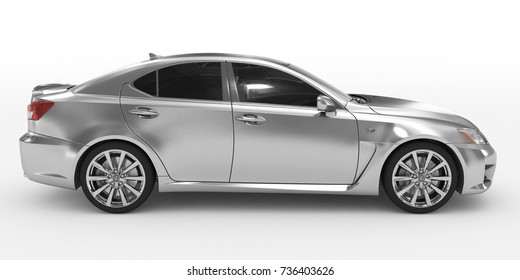 car isolated on white - silver, tinted glass - right side view - 3d rendering