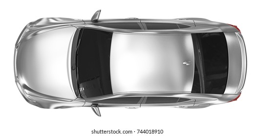 car isolated on white - silver, tinted glass - top view - 3d rendering