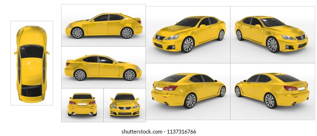 car isolated on white - yellow paint, tinted glass - collection of all characteristic views - top, front, back, side, separated with borders - 3d rendering
