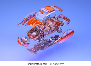 Car isometric, exploded view. 3D isometry illustration of vehicle for automobile poster. Car assembly, automotive industry, auto repair service, spare parts business, technology ads design background