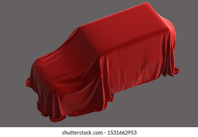 Car jeep under the fabric on grey background. Presentation car hidden under red the cloth 3d illustration