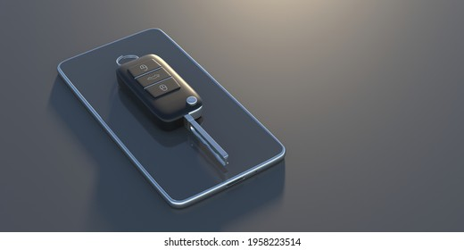 Car key. Auto remote control, flip key on a mobile phone, black background. Vehicle engine start, doors and trunk open and close. Access technology app. 3d illustration.