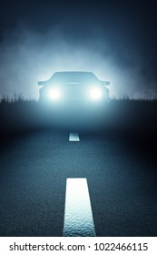 Car lights seen from the front on a dark eerie misty night and approaching on a striped asphalt road (3D render)