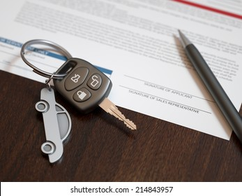 Car loan calculation concept with car keys