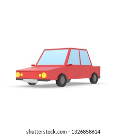 Car Low Poly simple design graphic elegant icon red, ground shadow, 3D render illustration