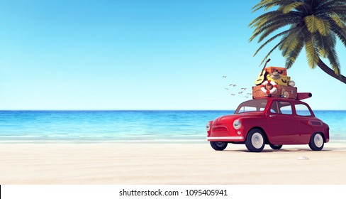Car with luggage on the roof on the beach ready for summer vacation 3D Rendering, 3D Illustration