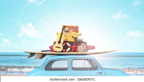 Car with luggage on the roof ready for summer vacation 3D Rendering, 3D Illustration